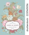 vector vertical vintage floral... | Shutterstock .eps vector #223565056