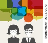 man and woman icon with speech... | Shutterstock .eps vector #223579072