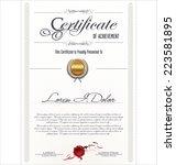 certificate template | Shutterstock .eps vector #223581895
