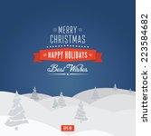 vector christmas card. happy... | Shutterstock .eps vector #223584682