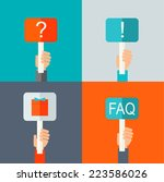 human hands holding question... | Shutterstock .eps vector #223586026