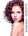 profile portrait of beautiful... | Shutterstock . vector #223593772