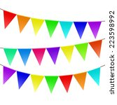 colorful bunting and garland... | Shutterstock .eps vector #223598992