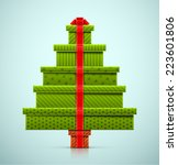 christmas tree of gifts  eps 10 | Shutterstock .eps vector #223601806