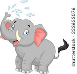cartoon elephant spraying water | Shutterstock . vector #223623076