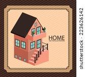 home design over brown... | Shutterstock .eps vector #223626142