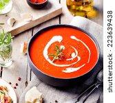 tomato  red pepper soup  sauce... | Shutterstock . vector #223639438