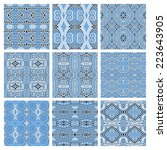 set of different seamless blue... | Shutterstock .eps vector #223643905