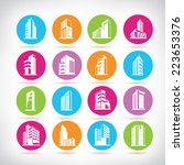 building icons  colorful circle ... | Shutterstock .eps vector #223653376