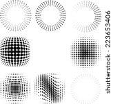 vector black halftone dots... | Shutterstock .eps vector #223653406