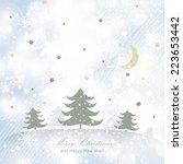 merry christmas landscape. | Shutterstock . vector #223653442