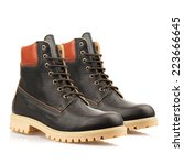 Dark Brown Boots With Shoelace...