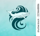 vector illustration of a whale...   Shutterstock .eps vector #223668886