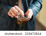 human hand touches the screen a ... | Shutterstock . vector #223672816