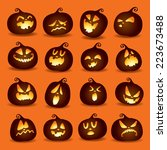 set pumpkins for halloween  | Shutterstock .eps vector #223673488
