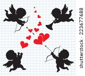 Stock vector cupid angels silhouette of cupids valentines day 223677688