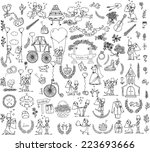 doodle wedding set for... | Shutterstock .eps vector #223693666