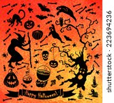 halloween set. bright... | Shutterstock .eps vector #223694236