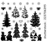 Christmas Cartoon  Set Black...