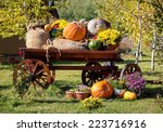 Wooden Cart With Autumn Fruits...