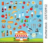 food  icon set flat design | Shutterstock .eps vector #223720912