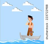 funny cartoon fisherman | Shutterstock .eps vector #223722988