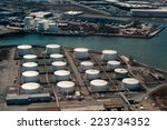 aerial view of  oil tanker and... | Shutterstock . vector #223734352