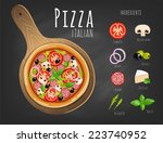 pizza on the board and the... | Shutterstock .eps vector #223740952