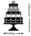 vector wedding cake for wedding ... | Shutterstock .eps vector #223749835