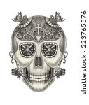art skull day of the dead. hand ...   Shutterstock . vector #223765576