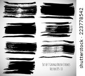 vector set of 7 black ink... | Shutterstock .eps vector #223778542