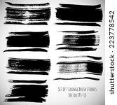 vector set of 7 black ink...   Shutterstock .eps vector #223778542