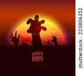 halloween party poster vector... | Shutterstock .eps vector #223806352
