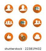 simple web icon set orange