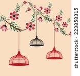 floral wedding invitation... | Shutterstock .eps vector #223858315