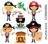 pirate girl vector illustration | Shutterstock .eps vector #223860886