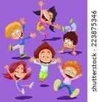 happy children jumping happy ... | Shutterstock .eps vector #223875346