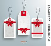 3 price stickers with ribbons... | Shutterstock .eps vector #223889995