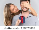 romantic woman covering her... | Shutterstock . vector #223898098