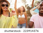 group of young friends having... | Shutterstock . vector #223914376