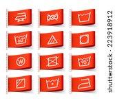 washing symbols on clothing...   Shutterstock .eps vector #223918912
