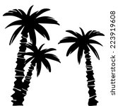 coconut palm trees set black... | Shutterstock .eps vector #223919608