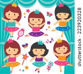 ballerina dancer clip art set   Shutterstock .eps vector #223920328