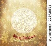 christmas golden ball. vector. | Shutterstock .eps vector #223928536