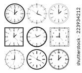 set of 9 digital clock. vector... | Shutterstock .eps vector #223934212