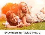 portrait of two little girls | Shutterstock . vector #223949572