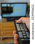 hand hold remote control in... | Shutterstock . vector #223950622