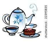 tea and cake | Shutterstock .eps vector #22395835