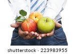 businessman with several fruits ... | Shutterstock . vector #223983955