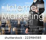 businessman writing internet... | Shutterstock . vector #223984585